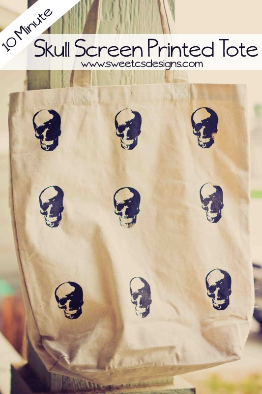 skull screen printed tote