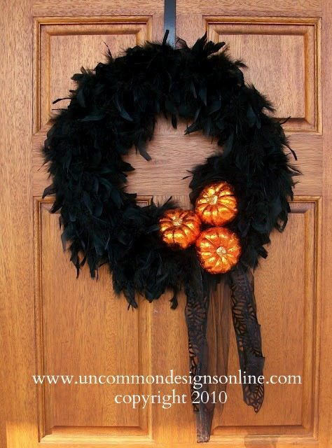 Uncommon Black Feather Boa Wreath 2010