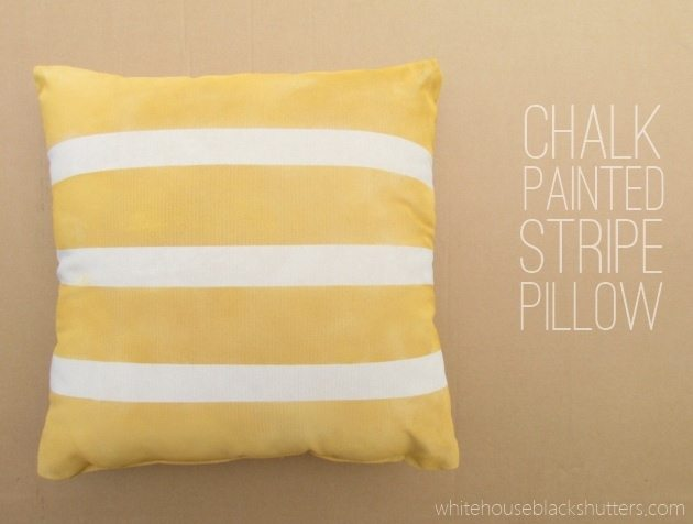 chalk painted stripe pillow