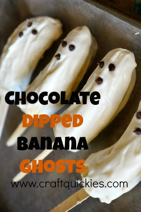 Chocolate dipped banana ghosts