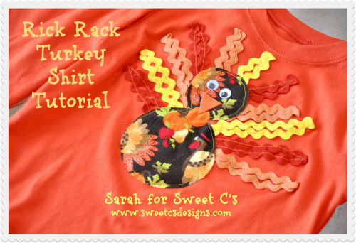Make a goofy, festive turkey t-shirt using rick rack!  I love it!