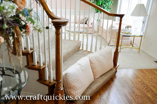 ... A Standard Baby Gate Is Useless To Me On Those Wide, Open Stairs. I  Originally Put Couch Cushions On The Steps, But Then She Got Quite  Proficient At ...