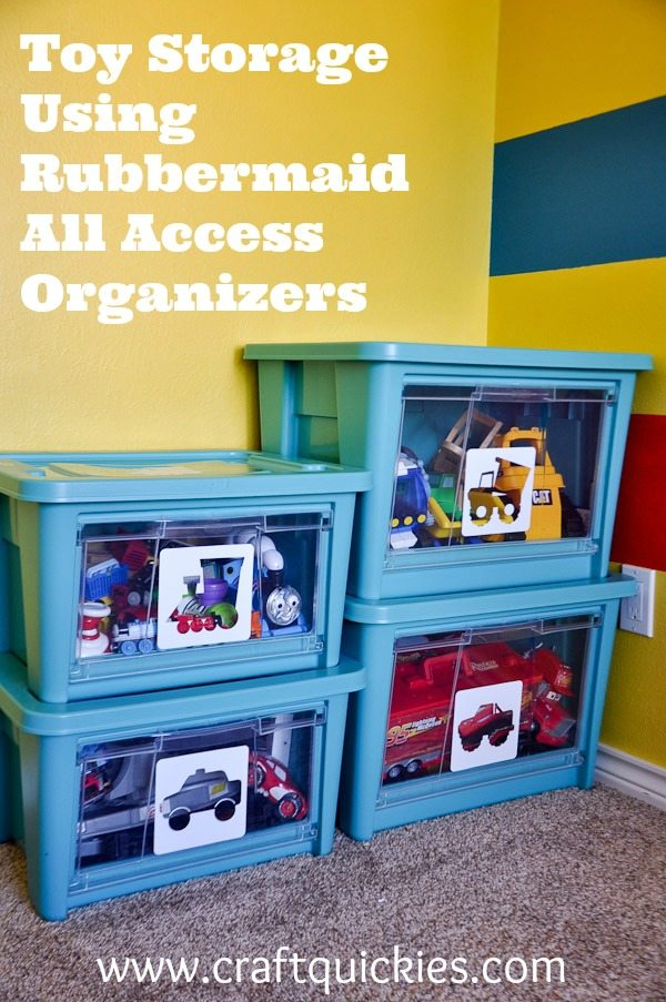Toy storage solutions using rubbermaid all access organizers for Kids room toy storage
