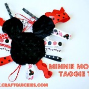 This free pattern and tutorial for a Minnie Mouse Taggies Inspired Toy is a fun and unique baby gift idea.
