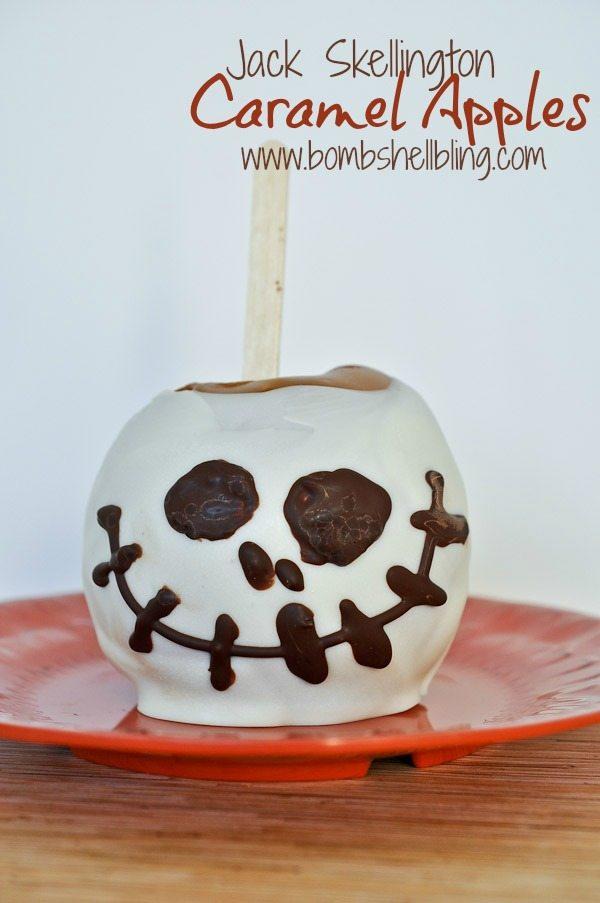 jack skellington caramel apples - Caramel Apple Ideas Halloween