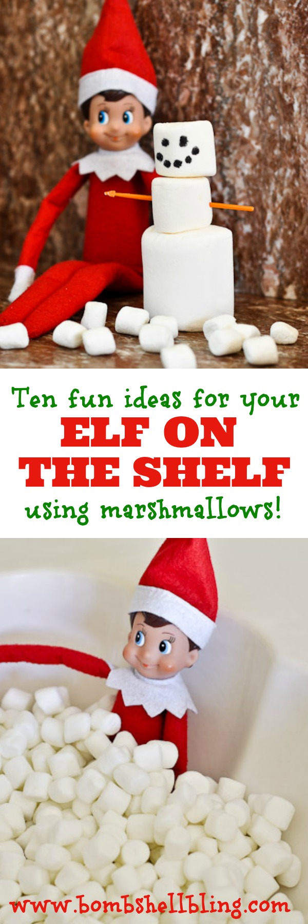10 simple & fun ideas for your Elf on the Shelf using marshmallows!