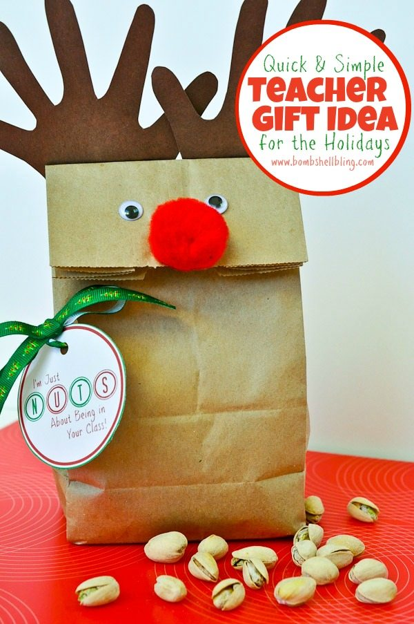 A FREE printable for a fun and simple teacher gift idea for the holidays!