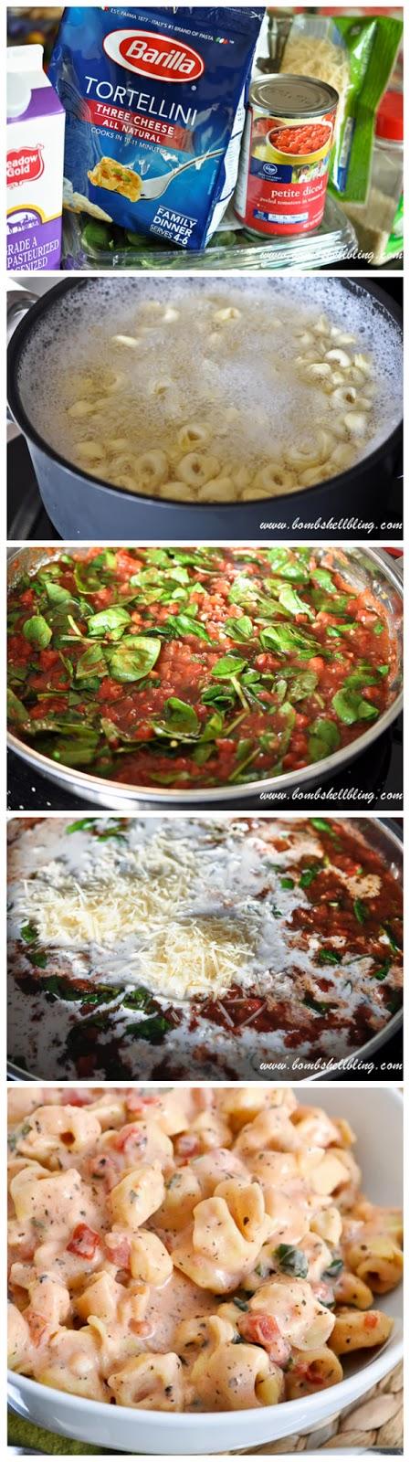 Creamy Spinach Tortellini Steps