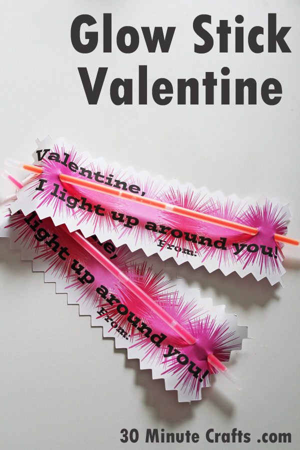 Handy image within glow stick valentines printable