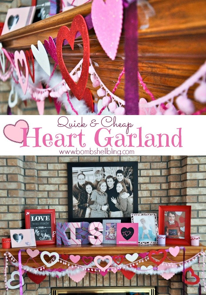 Quick & Cheap Heart Garland Tutorial from Bombshell Bling