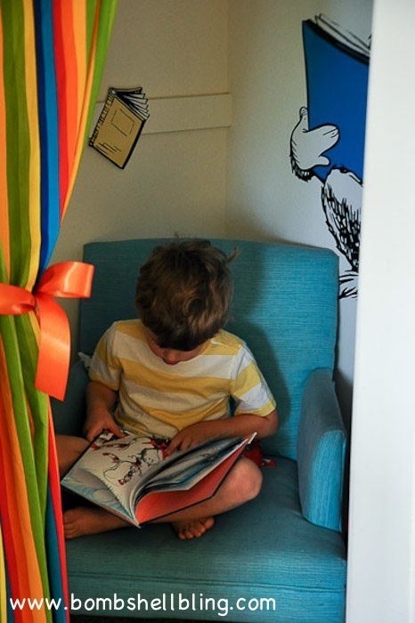 a simple curtain for a closet reading nook