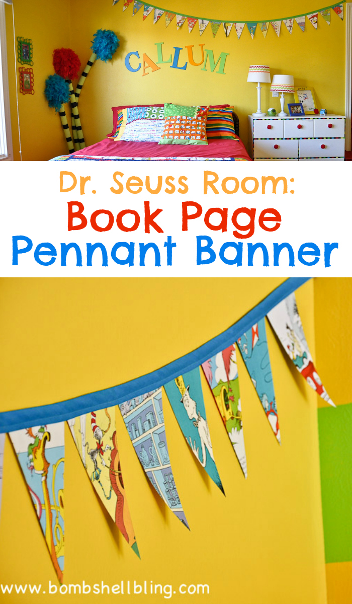 Dr. Seuss Room: Book Page Pennant Banner from Bombshell Bling