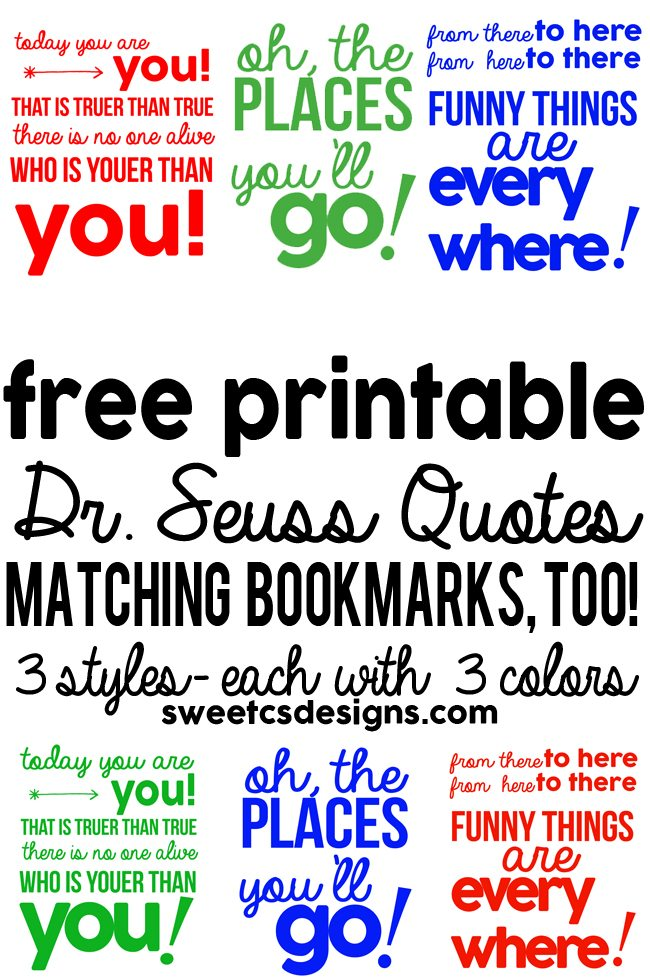 Free Printable Dr. Seuss Quotes from Sweet C's Designs
