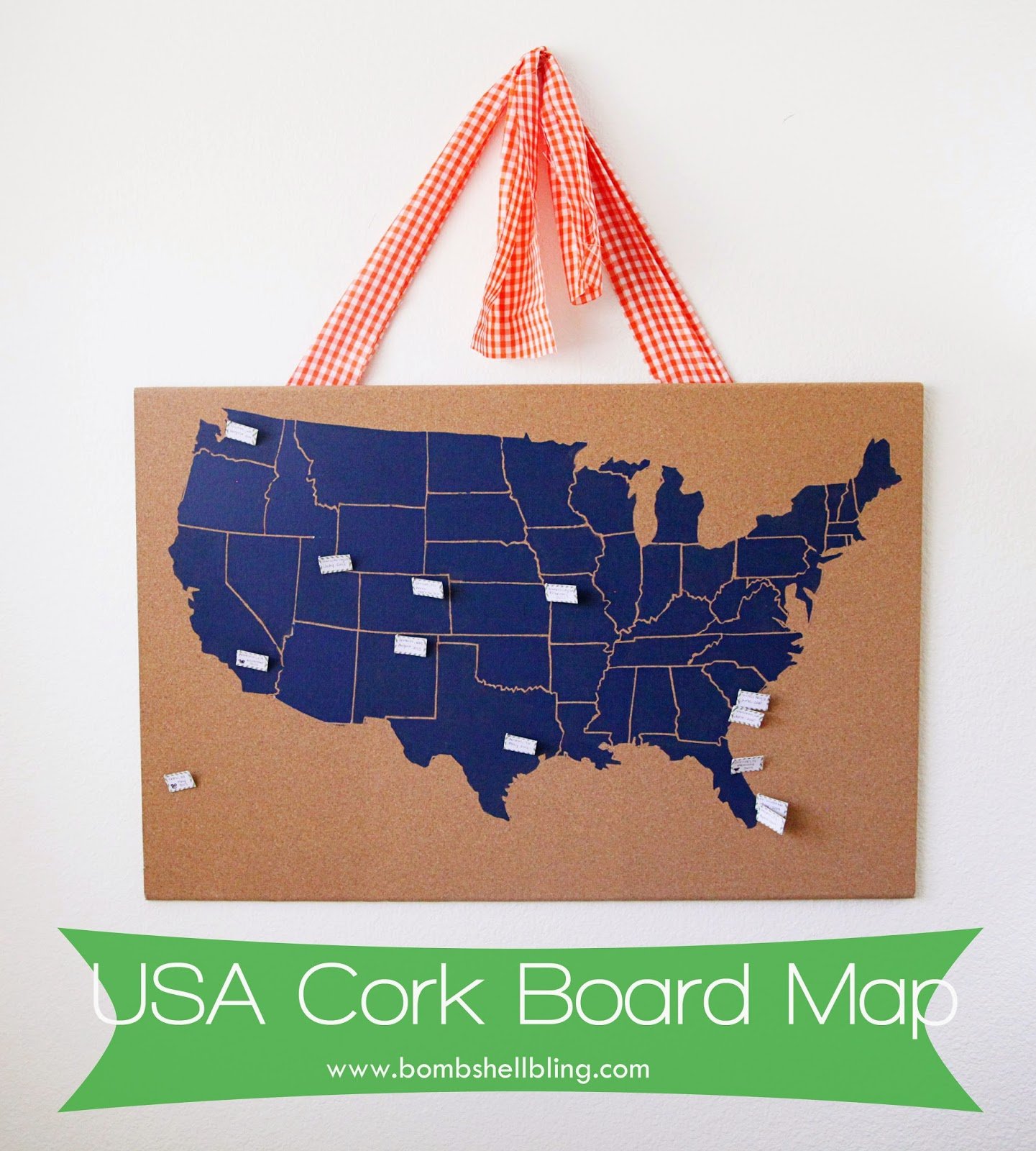 USA Cork Board Map - Map of the united states cork board