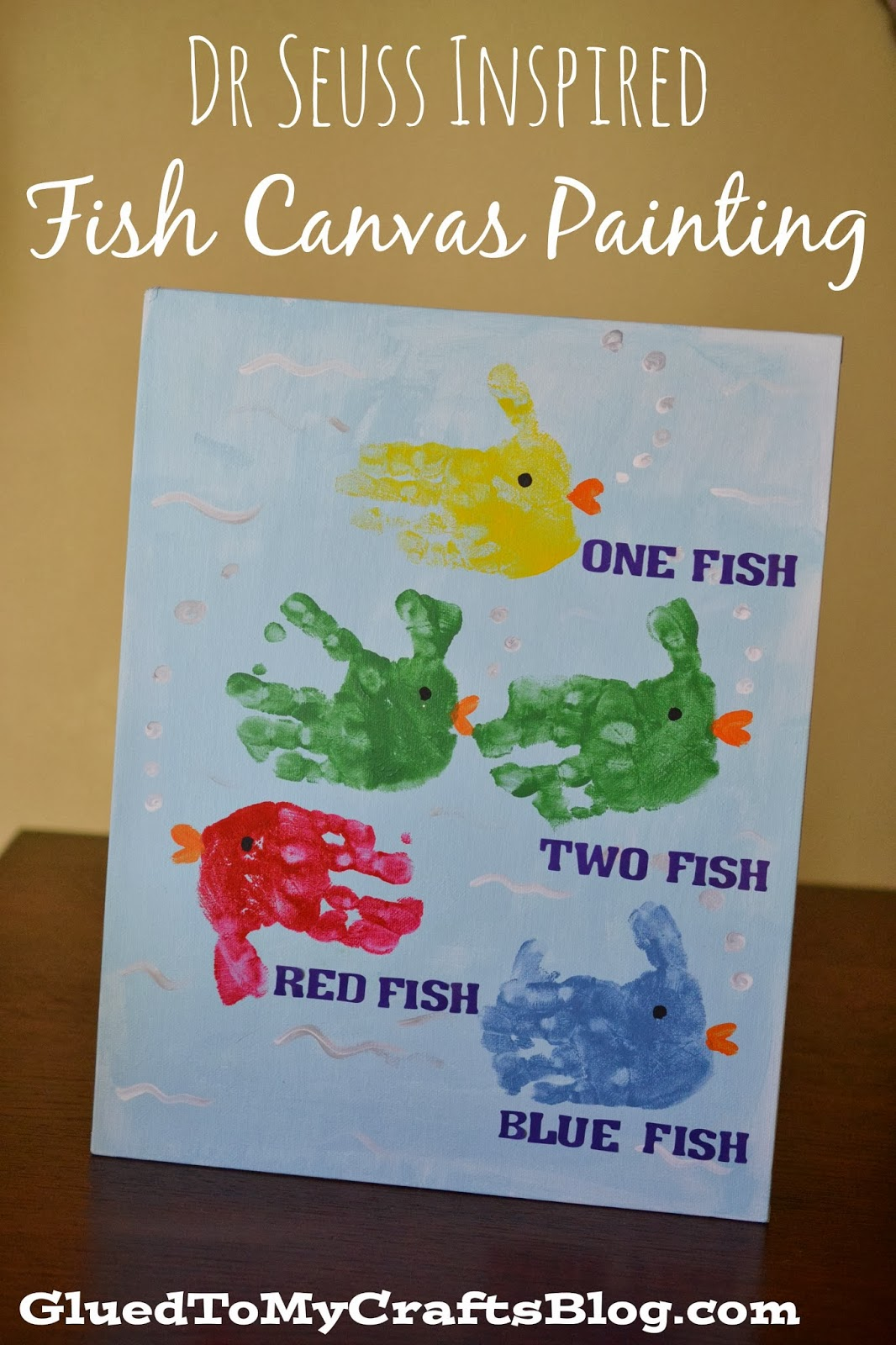 Dr. Seuss Inspired Fish Canvas Painting Kid Craft from Glued to my Crafts