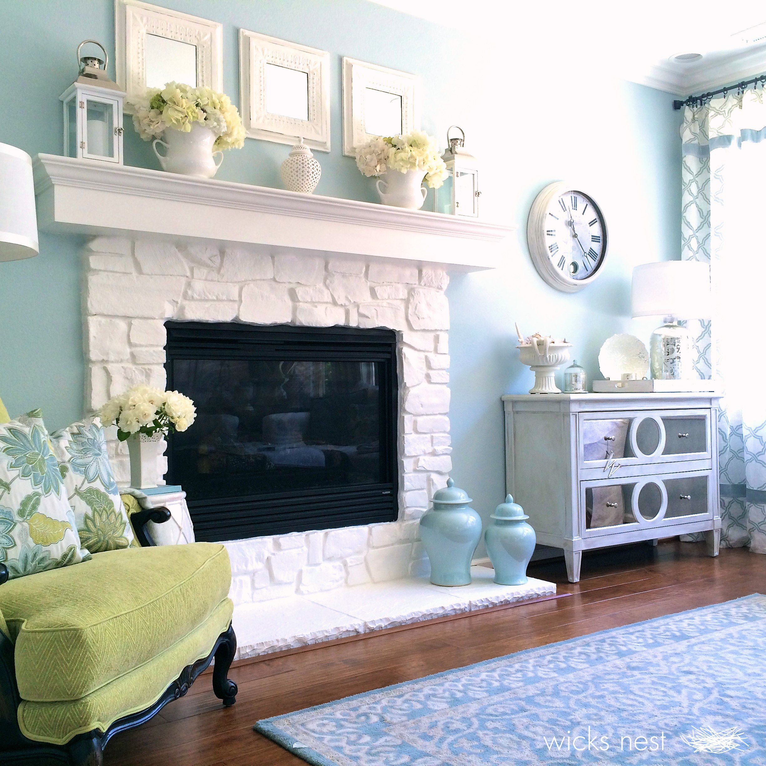 white painted stone fireplace images