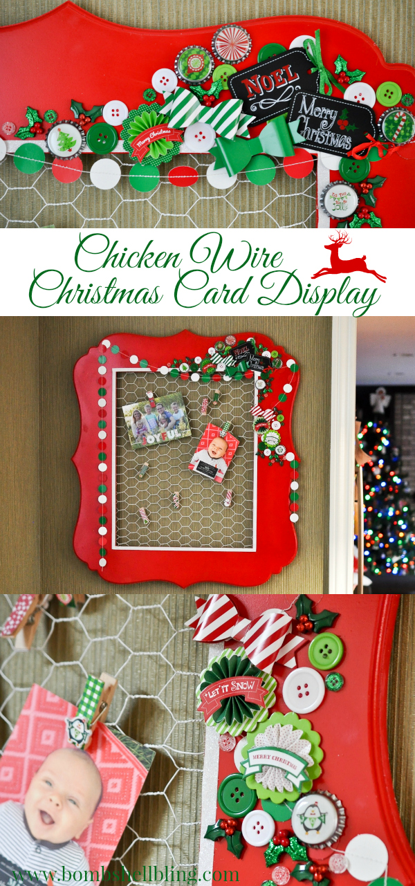 last year i got an idea to turn a big frame into a christmas card display using chicken wire but i never got around to - Christmas Decorations With Chicken Wire
