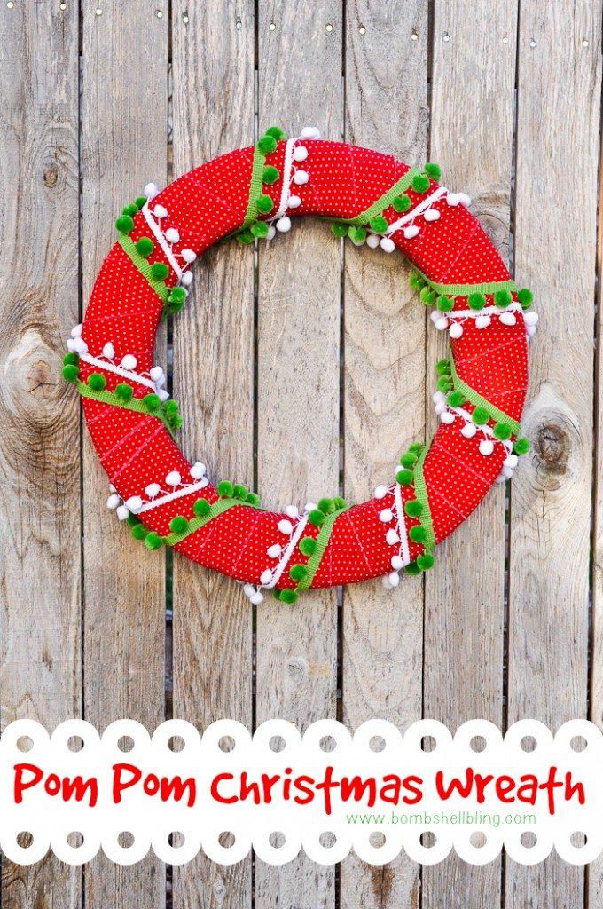 Pom Pom Christmas Wreath by Bombshell Bling