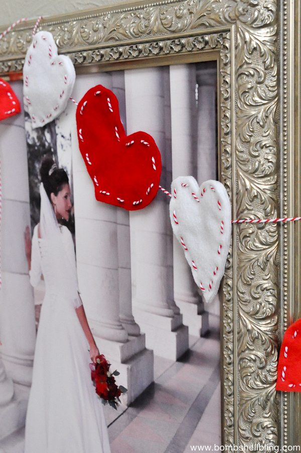Stitched Heart Garland - Make this darling Valentine's Day Garland, it's a quick and easy DIY project made with felt and baker's twine. You will the the sweet romantic look!