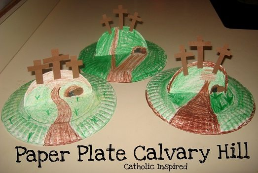 Christ centered easter activities and crafts for kids paper plate calvary hill from catholic inspired negle Gallery