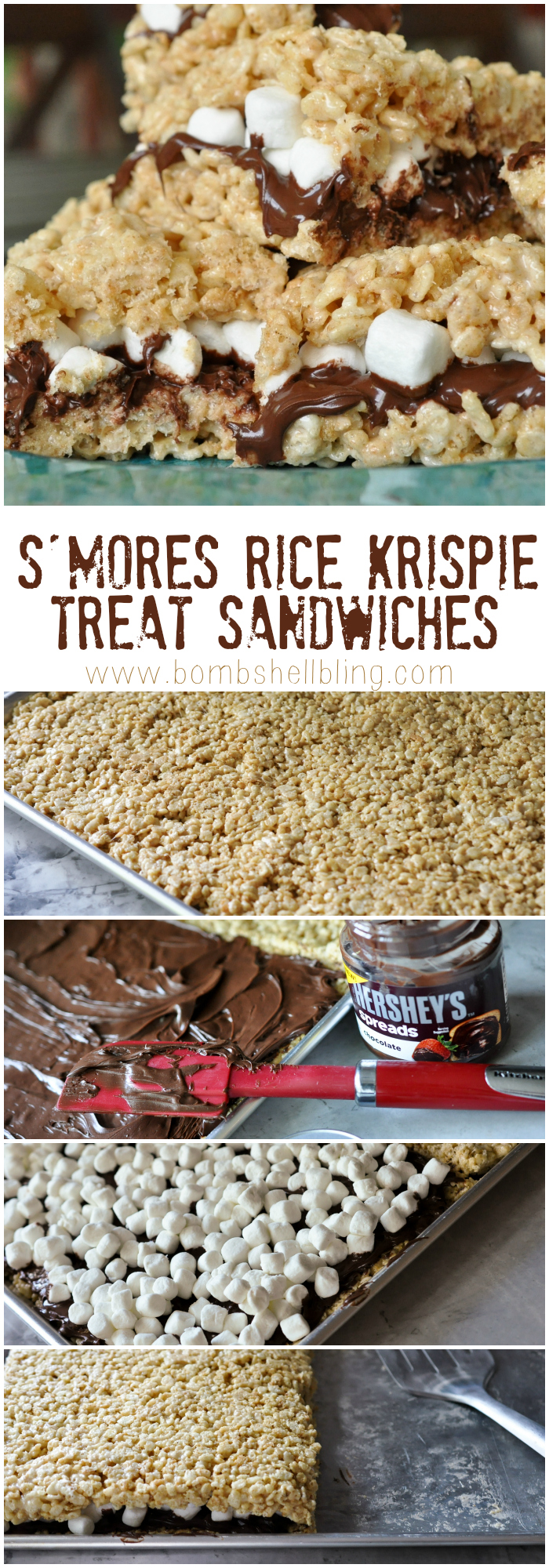 S'mores Rice Krispie Treat Sandwiches