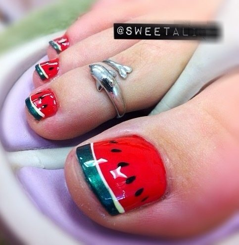 10 summer toenail art ideas watermelon toenail art prinsesfo Images