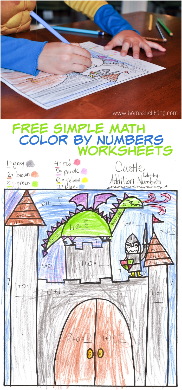 Simple Math Color by Number Worksheets – Free Math Color by Number Worksheets