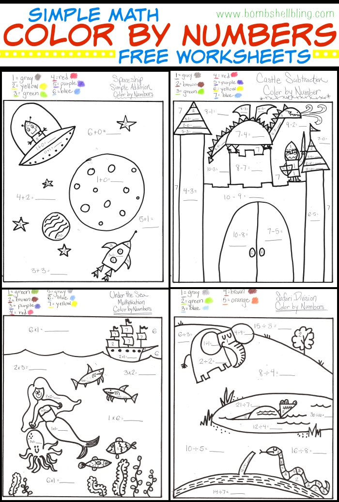 Math Color by Number Worksheets